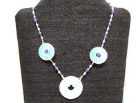 Beaded Necklace Opalite and Midnight Blue Glass Beads