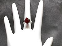 Tiffany Style Siam Ruby Crystal Beaded Ring