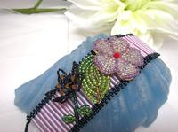 Beadwork Bracelet Handcrafted Purple Flowers