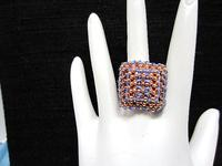 Bead Woven Cocktail Ring Swarovski Crystal Sapphire Statement Ring