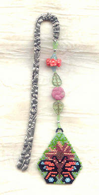 BUTTERFLY GARDEN:  Handmade Needlewoven and Cast Pewter Bookmark