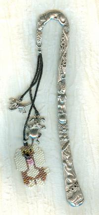 The Prints and the Paw-Pers: Hand Beaded Pewter Bookmark
