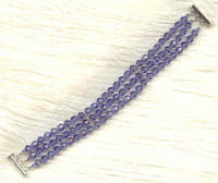 Three-Strand Swarovski Tanzanite Crystals Sterling Silver Bracelet