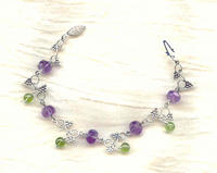 SONOMA BEADED BRACELET: Sterling Silver Amethyst and Peridot Gemstones