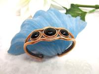 Copper Cuff Bracelet set with Black Onyx Cabochons