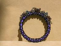 Lilac Bangle Bracelet with Black Netting and Floral Motif Garland