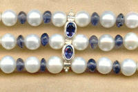 Multistrand White Freshwater Pearl and Iolite Bracelet