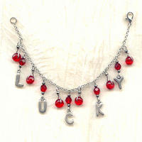 LUCKY: Pewter and Siam Ruby Red Faceted Glass Charm Bracelet