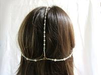 Jewelry Set Renaissance Gold and Pearls Necklace, Earrings, Headpiece