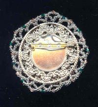Emerald and Peach Crystal Brooch