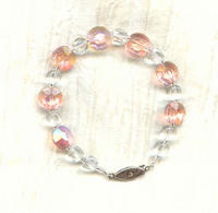Vintage West German Light Rose Aurore Boreale Art Deco Bead Bracelet