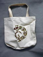 Hand Beaded and Painted Gecko on Canvas Beach Bag