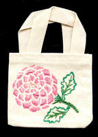 Hand-Beaded and -Painted Chrysanthemum Canvas Cell Phone Tote