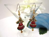 Christmas Earrings Bells and Holly Red and Green Enameled Gold Metal