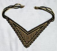CLEOPATRA: Black and Bronze Needlewoven Draped Choker