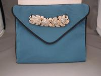 Handmade Teal and Black Turtle Totem Clutch Bag