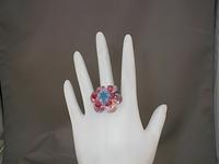Tahitian Flower: Honeysuckle Pink Swarovski Crystal Cocktail Ring