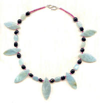 Aquamarine and Black Jasper Collar