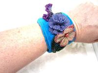 Cuff Bracelet Hand Beaded Flowers on Peacock Blue Velvet