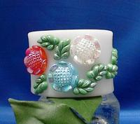 Vintage Cuff Bracelet Glass Flowers, Leaves on White Acrylic