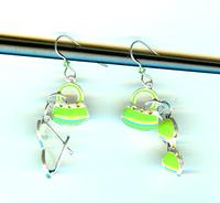 Dangle Earrings Adorable Green Enamel Purse and Sunglass Charms