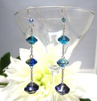 Long Earrings Sterling Silver and Vintage Blue Glass Flying Saucers