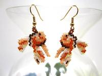 Beaded Earrings Bead Woven Lucky Goldfish Koi Fish