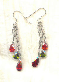 Flame, Garnet, and Olivene Cubic Zirconia Teardrop Dangle Earrings
