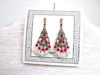 Earrings Lightweight Chandelier Swarovski Crystal Red and Clear