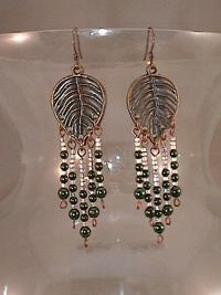 Dangle Earrings Copper Leaves with Forest Green Glass Beads Fringe
