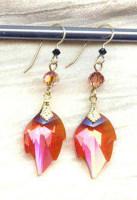 Swarovski Rose Gold Crystal Leaf Earrings