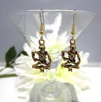Dancing Brass Skeletons Earrings Halloween Goth Burning Bush