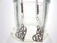 Earrings Long Dangling Silver and Crystal Love Hearts Sparklers