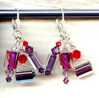Heather and Red Cane Glass and Swarovski Crystal Dangle Earrings