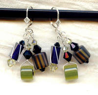 Jet and Jonquil Cane Glass and Swarovski Crystal Dangle Earrings