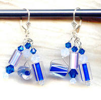 Opaline and Peacock Cane Glass and Swarovski Crystal Dangle Earrings