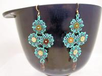 Golden Turquoise and Amethyst Earrings:  Lightweight and Lacy