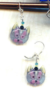 Handmade Lampwork Glass Fantasy Cat Face Earrings - Kool Kat!