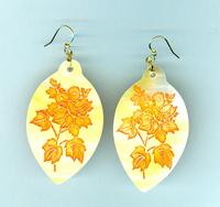 Chestnut Bouquet Etched on Gold Mother of Pearl Earrings