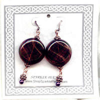 Amethyst Murano Glass Disc Earrings