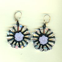 Pink and Black Floral Needlewoven Beaded Earrings