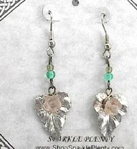 Pink Flower on Silver Leaf Feminine Gift Earrings