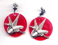 Silver Herons on Bright Red Round Capiz Shell Background Earrings