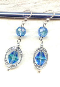 Pastel Blue Green Faceted Glass and Sterling Silver Earrings