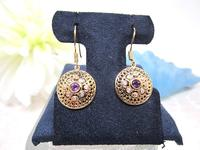 Regal Amethyst Earrings with White Zircons in Vermeil Gold Settings
