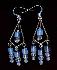 One of a Kind Hand Beaded Opalite Chandelier Earrings