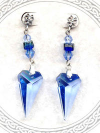 Swarovski Light Sapphire Crystal Arrow Artisan Crafted Earrings