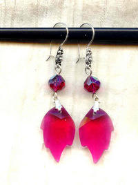 Handcrafted Indie Boutique Ruby Swarovski Crystals Leaf Earrings