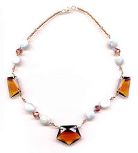 Vintage Deco Colorado Topaz Glass White Coin Pearl Necklace