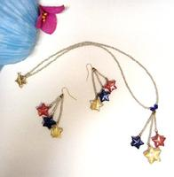 Fashion Jewelry Necklace Earrings Set Murano Glass Stars